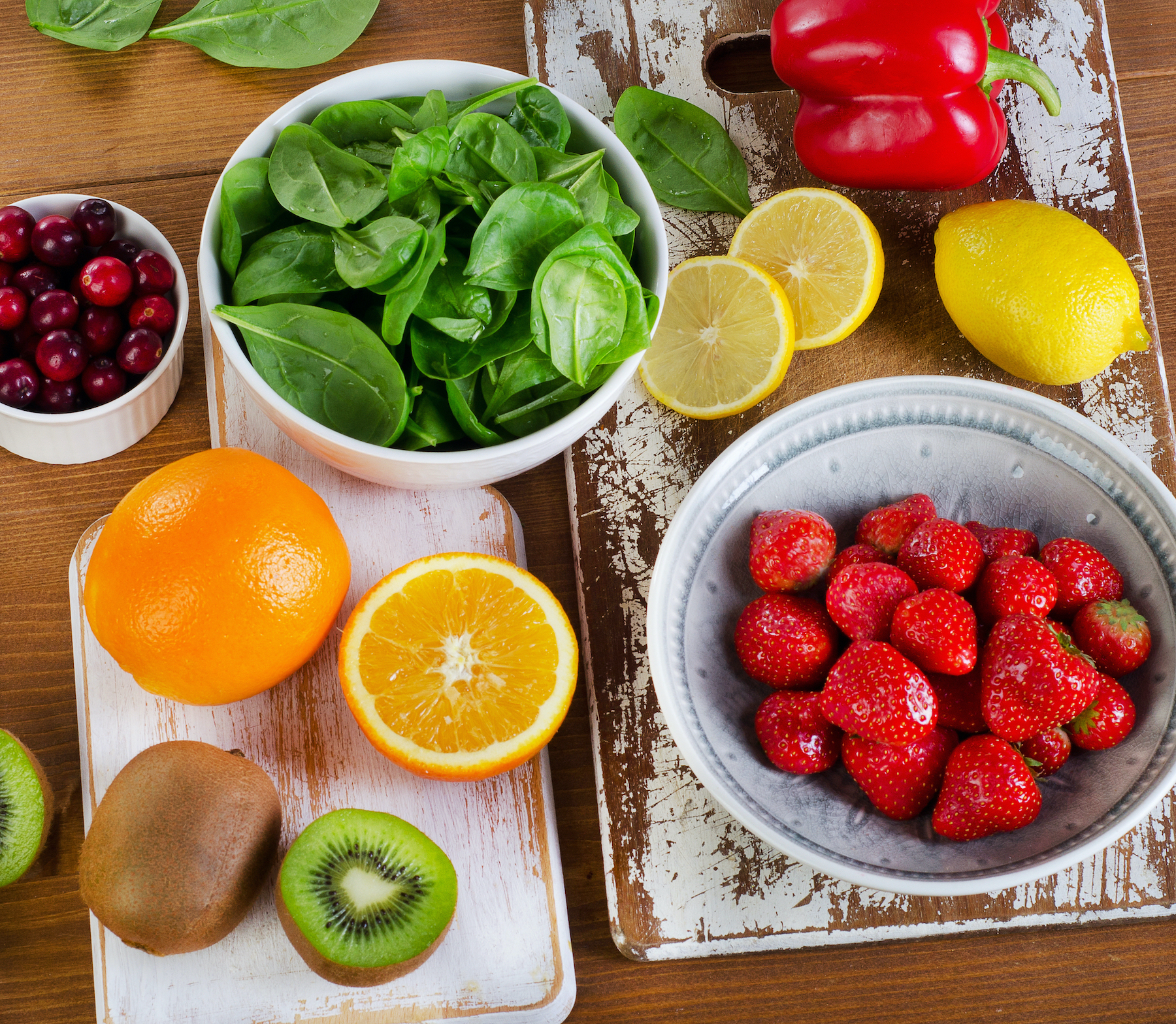 Foods Highest in Vitamin C. View from above